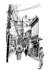 Printed roller blinds Art Studio Street in Japan