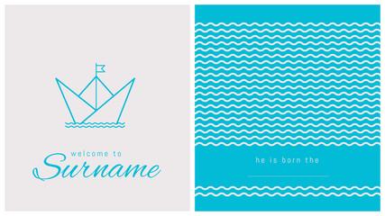 faire-part de naissance, carte pour célébrer l'arrivée d'un bébé, bateau, marin, naviguer