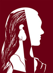 Silhouette of woman head. Profile of a beautiful young girl with long hair. Red and white vector illustration. Fashion concept. Geometrical abstract drawing.
