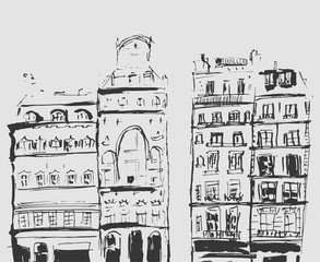 Ink sketch of buildings. Hand drawn illustration of Houses in the European Old town. Travel artwork. Black line drawing isolated on blue background.