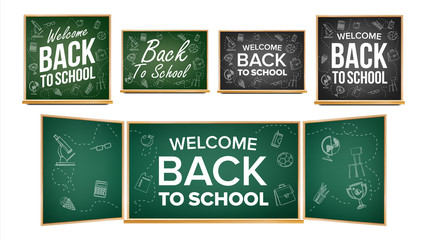 Back To School Banner Design Vector. Classroom Chalkboard, Blackboard. Doodle Icons. Sale Background. Welcome. 1 September. Education Related. Realistic Illustration