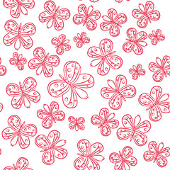 Butterfly on a white background, seamless pattern