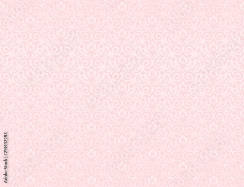 Seamless Pattern Of Flowers And Leaves In Blush Pink Color Stock
