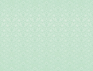 seamless pattern of flowers and leaves in iced mint color