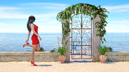 3D beautiful brunette woman red evening dress sea beach. Summer rest. Blue ocean background. Sunny day. Conceptual fashion art. Seductive candid pose. Realistic render illustration.
