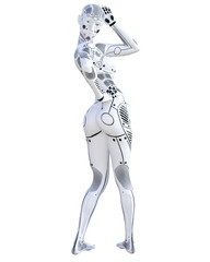 Robot woman. Metal droid. Artificial Intelligence. Conceptual fashion art. Realistic 3D render illustration. Studio, isolate, high key.