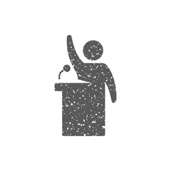 Auctioneer icon in grunge texture. Vintage style vector illustration.