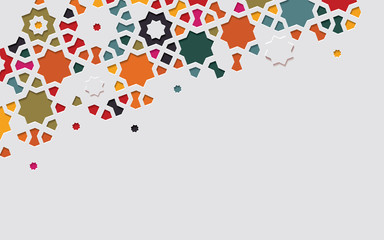 Arabic arabesque design greeting card for Ramadan Kareem. Islamic abstract ornamental colorful detail of mosaic. Vector illustration.