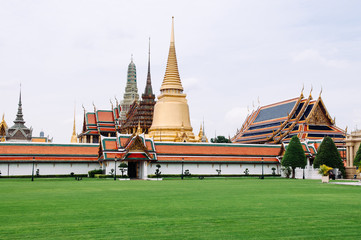 Famous scene of Wat Phra Kaew - Emerald Buddha Temple in Bangkok Grand Palace