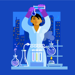 Beautiful young Asian woman scientist holding flasks, working in the laboratory. Vector