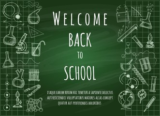 Welcome back to school. Green chalk board doodle education background for students and teachers, vector illustration