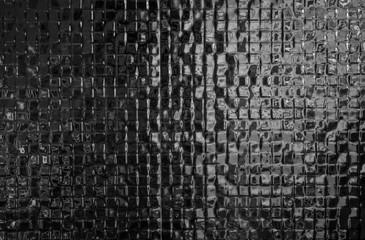 Black mosaic tiles pattern texture background Modern design home bathroom. Wall mural