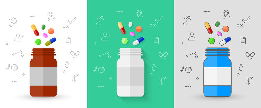 Colorful pills, tablets and capsules with pill bottle and related medicine line icons. Vector illustration set in different style and design.