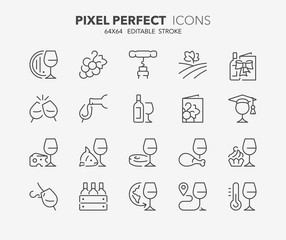 wine thin line icons