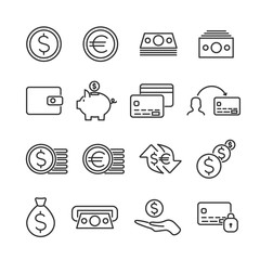 Vector image set of money line icons.