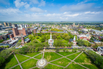 Wall Mural - View of the New Haven Green and downtown, in New Haven, Connecticut