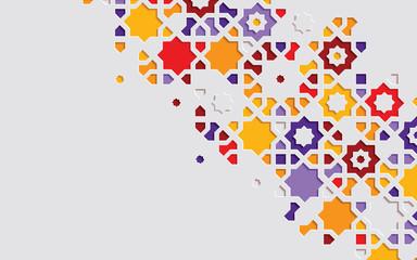 Arabic arabesque design greeting card for Ramadan Kareem. Islamic abstract ornamental colorful detail of mosaic.Vector illustration.