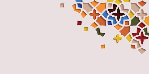 Arabic arabesque design greeting card for Ramadan Kareem.Islamic ornamental colorful detail of mosaic.Abstract vector illustration.