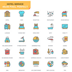 Flat line hotel services icons set for website and mobile site and apps. Contains such Icons as Luggage, Reception, Services, Fitness Center. 48x48 Pixel Perfect. Pictogram pack. Vector illustration.