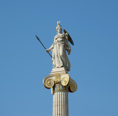 Goddess Athena statue on the column, goddess of wisdom and knowledge, handcraft and warfare