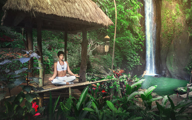 Printed kitchen splashbacks Bali Serenity and yoga practicing at waterfall,Bali,Imdonesia