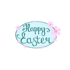 Happy Easter hand lettering in oval frame with flower decoration, raster