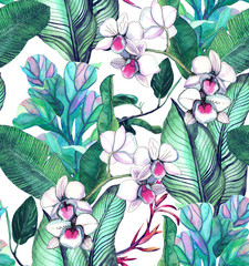 Seamless pattern with tropical leaves and flowers. watercolor pattern with orchids,  white orchid phalinopsis, banana leaves. Botanical background
