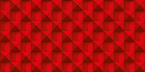Volume red realistic texture, cubes, gray 3d geometric pattern, design vector scarlet background