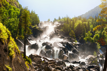 Uchar waterfall in Altai mountains, Siberia, Russia
