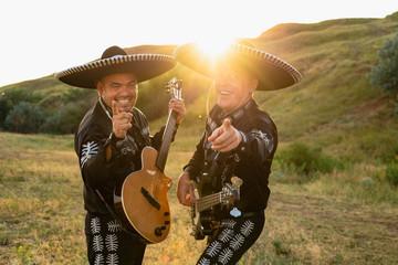 Musicians mariachi outdoor. Latin music.