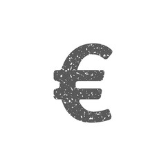 Euro currency symbol icon in grunge texture. Vintage style vector illustration.