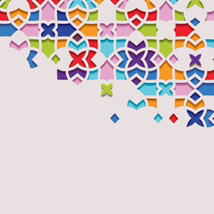 Arabic arabesque design greeting card for Ramadan Kareem.Islamic ornamental colorful pattern. Vector illustration.