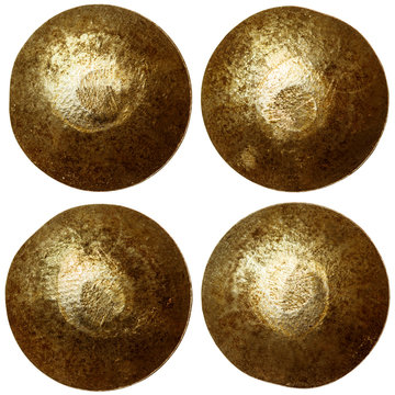 set of golden or bronze rivet heads isolated on white background