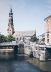 Sankt Katharinen lutheran church in Hamburg, Germany against clear blue sky