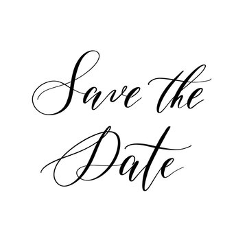 Save the date - hand lettering vector.