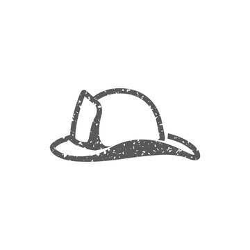 Fireman hat icon in grunge texture. Vintage style vector illustration.