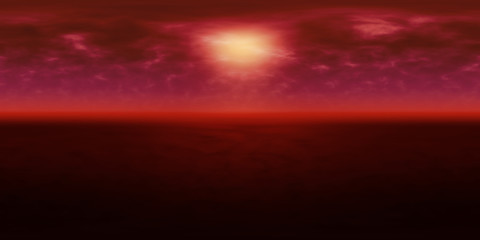 high resolution environmental 360 degree HDRI map, spherical panorama, 3d illustration background, 8k, for equirectangular projection (dark red alien planet with bright light in dusty red sky)