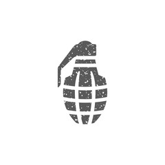 Grenade icon in grunge texture. Vintage style vector illustration.