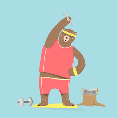 Cute bear cartoon character doing exercises. cartoon Illustration
