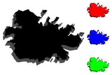 3D map of Antigua (Waladli or Wadadli, Antigua and Barbuda) - black, red, blue and green - vector illustration