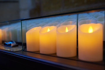 Electric candles in St. Vitus Cathedral in Prague, Czech Republic