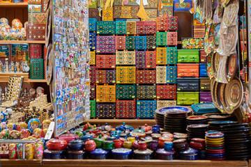 Multicolored souvenirs in a shop in Krakow Poland