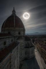 View of Santa Maria del Fiori at night in Florence Italy