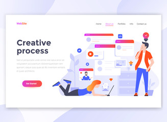 Flat Modern design of wesite template - Creative process