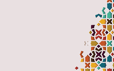 Islamic arabesque design greeting card for Ramadan Kareem.Arabic ornamental colorful detail of mosaic. Vector illustration.