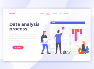 Flat Modern design of wesite template - Data analysis process