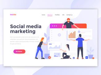 Flat Modern design of wesite template - Social media marketing Wall mural