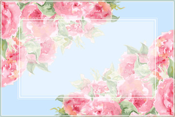 Watercolor pink tea rose peony flower floral composition frame border temple background vector