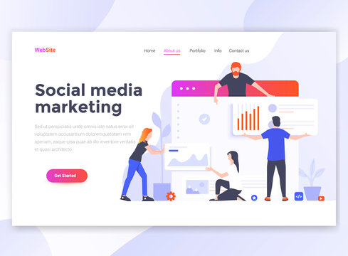 Flat Modern design of wesite template - Social media marketing