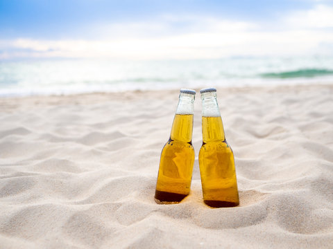Bottles of Beer on the beach. Party, Friendship, Beer Concept.